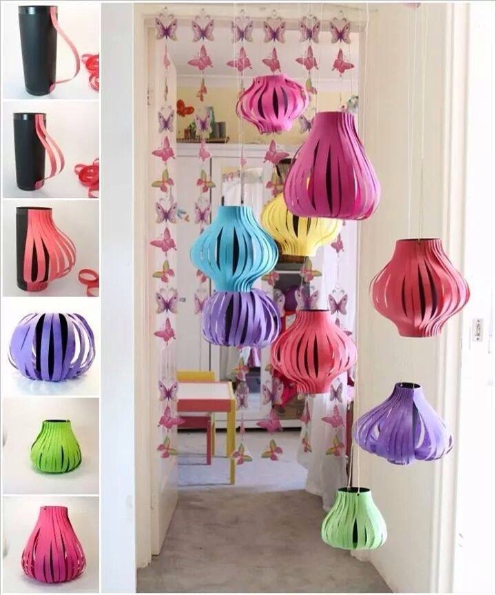Simple paper lanterns to make with kids! They will love these decorations!