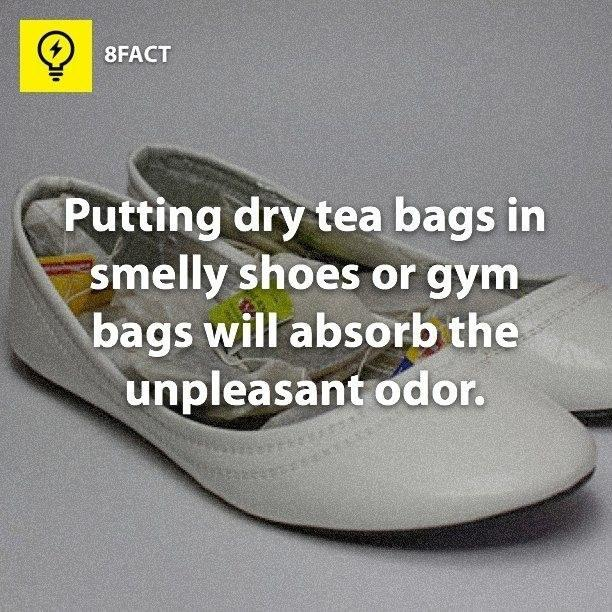 10. Make life better for both toes and nose with unused tea bags.:  Smelly feet, smelly feet, it's not your fault.