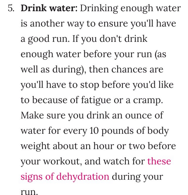 Signs of dehydration: http://www.popsugar.com/fitness/Signs-Dehydration-During-Workout-24325646