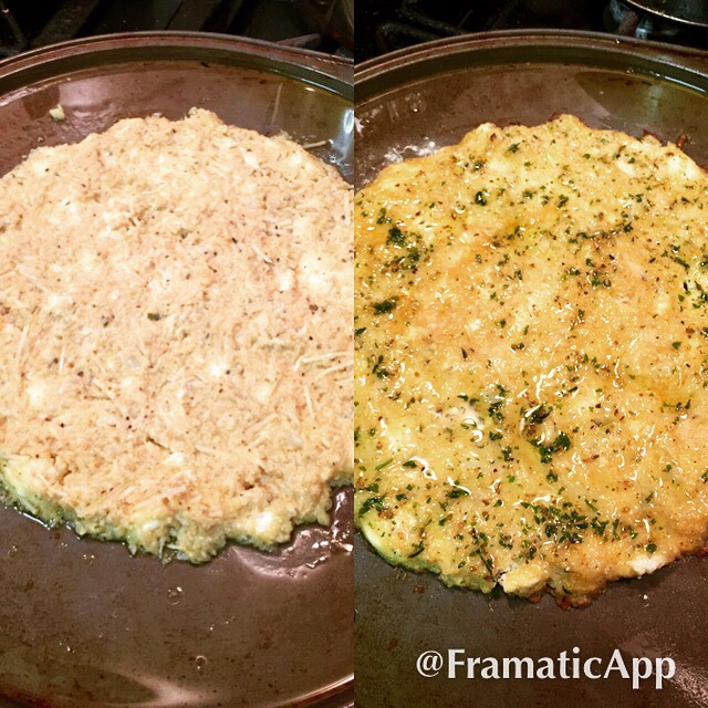 This was the cauliflower dough before and after cooking it in the oven. I brushed olive oil with herbs in it.