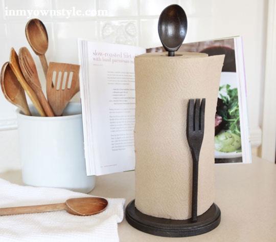 Craft a utensil-themed paper towel holder