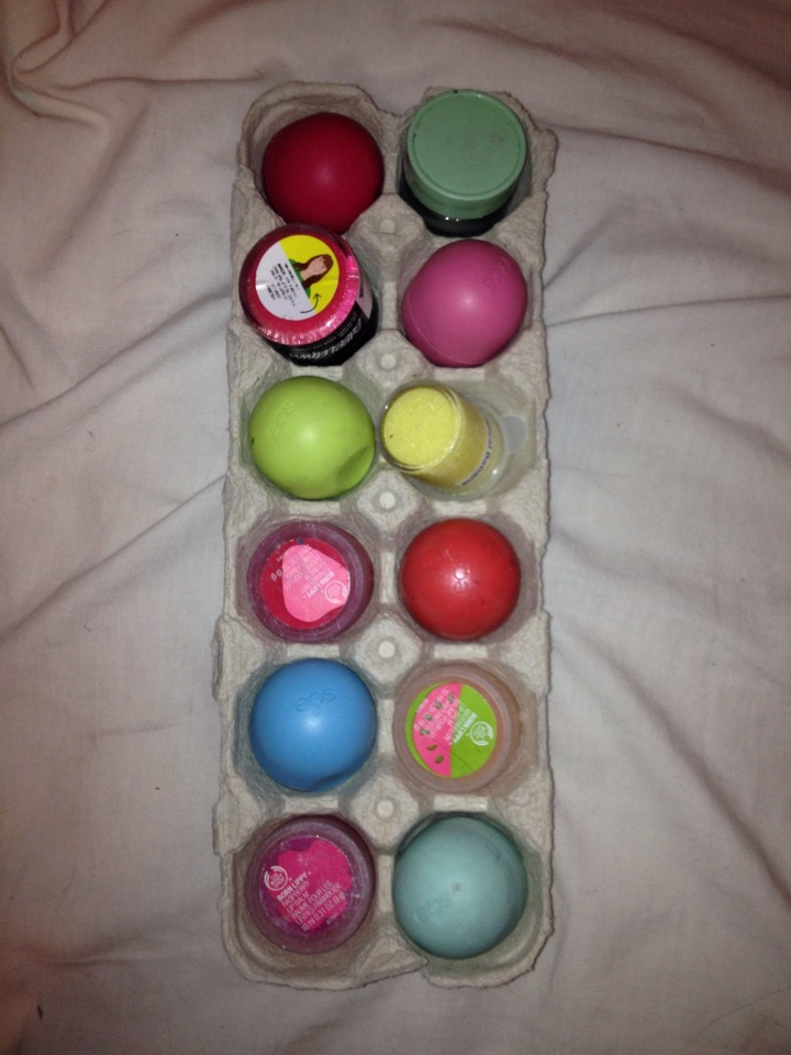 Store EOS and other round bottom products in egg cartons.