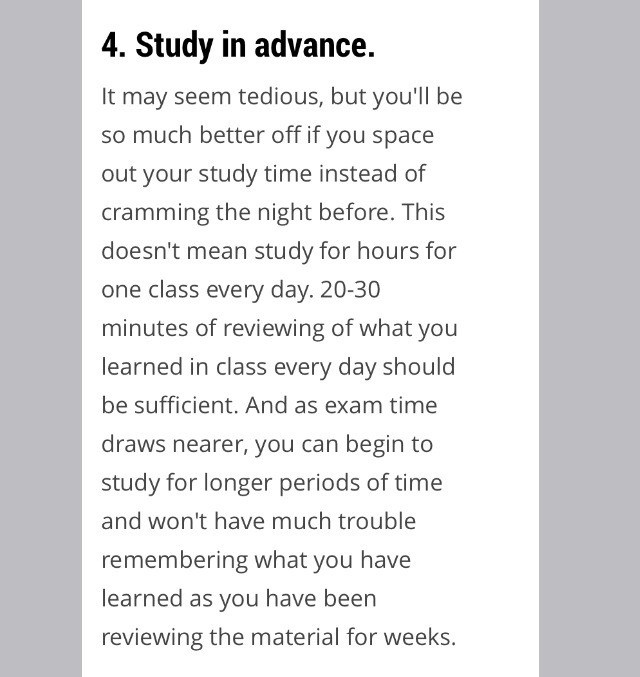Reviewing also helps a lot then trying to fever everything at once