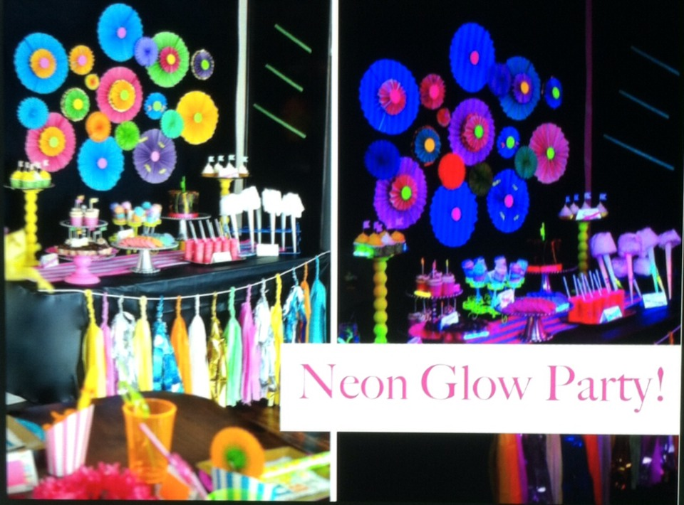 Use bright neon of fluorescent colored things under a blacklight