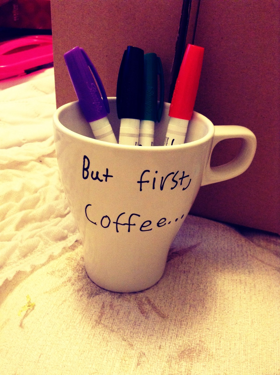 This is the mug I made all you need is a white mug and oil based sharpies
