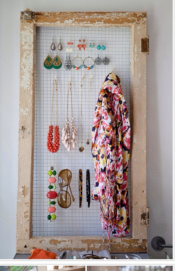 4. Jewelry Organizer with Repurposed Window Frame.