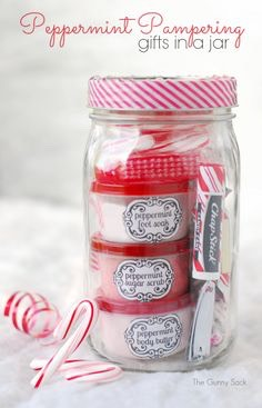 A cute Christmas gift. A quick beauty scrub, moisturizer, Chapstick, and candies!