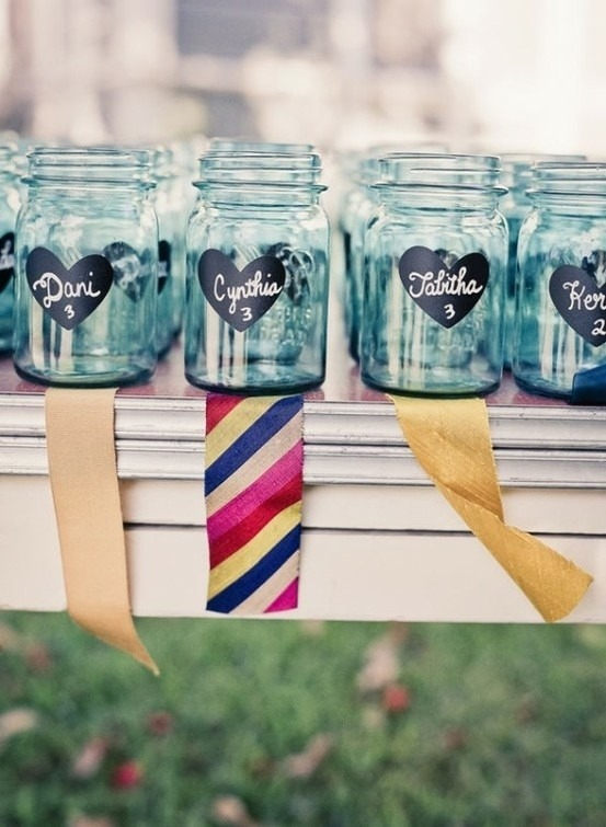 Use a stencil and chalkboard paint to customize your jars