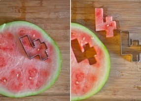 Use a cookie cutter to cut watermelon!!