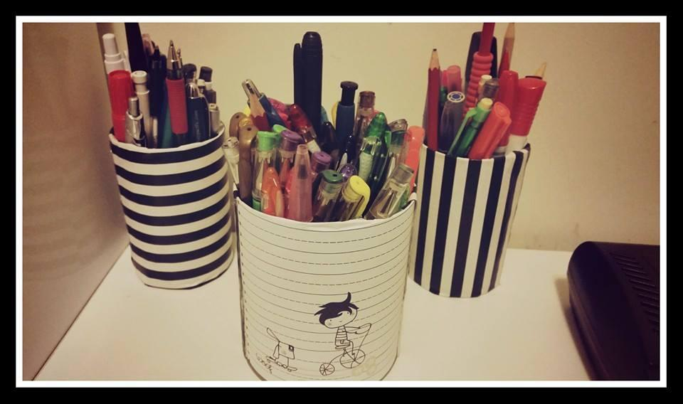 Pen Holders: Do not throw away cans or jar bottles. Redecorate them with gift wrap paper or scrap book paper. Bling Bling it with your CREATIVITY.