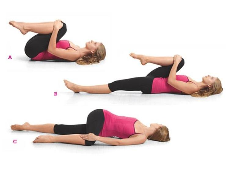 Easy Spinal Twist:This time, you're going to hold the pose for 45 seconds.