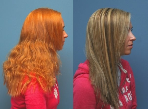 Don't Let This Happen To Your Hair! To The Left Is Color Used With Store Bought Dyes. To The Right Is Color Correction Done At The Salon.
