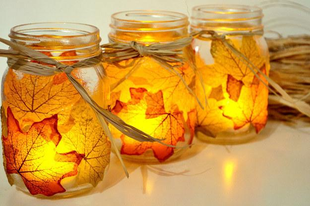 27. These perfectly autumnal holders.  http://www.sparkandchemistry.com/craft-it-blog/leaf-mason-jar-candle-holder