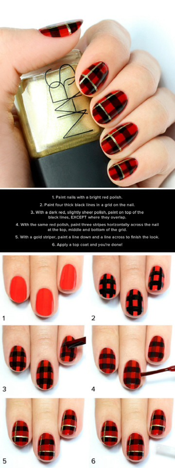 Black & Red Plaid Print Nail Tutorial