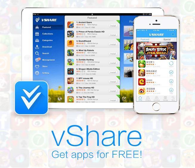Download Vshare on safari or google