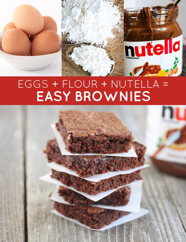 EASY BROWNIES: 1 1/4 cup Nutella 2 eggs 1/2 cup all purpose flour Bake for 15 minutes at 350 F