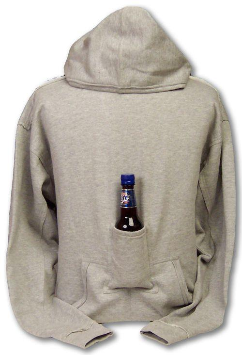 14. Beverage Pouch Hoodie The smartest invention since the koozie! No need to worry about where you're going to put your drink down with this genius sweater. Stay warm with your beverage handy, and your friends jealous. This beverage pouch hoodie would be an awesome gift idea for any guy (or girl)!