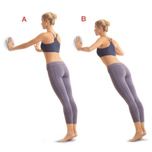 WALL PUSH-UP: with feet about shoulder width apart, place you hands a little more than shoulder width apart on a steady wall (the should be shoulder level too, not by your face). Slowly lower yourself toward the wall, and push back to start position. Hold your abs tight as you do them.