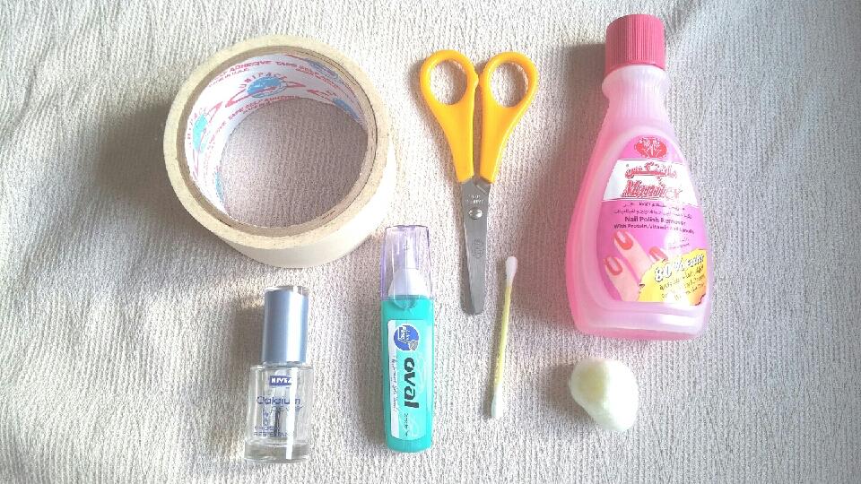 All you need ~Tape ~Scissors ✂ ~Nail polish remover ~Transparent nail polish 💅 ~Correction pen ~Q-tip/Cottton