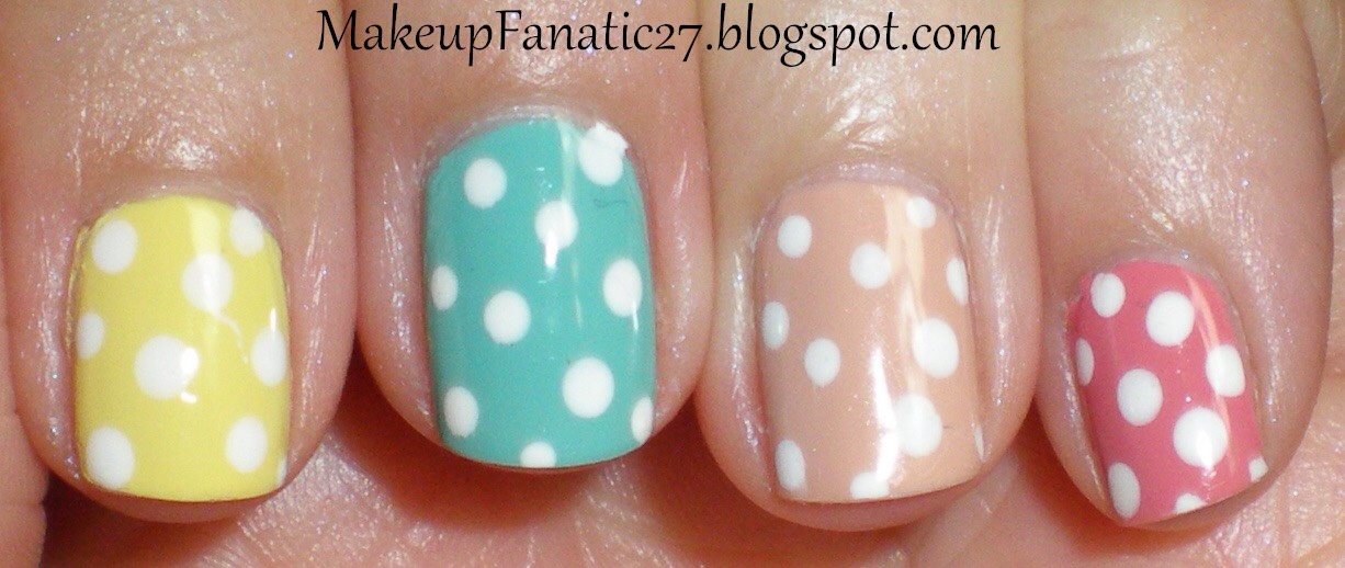 Paint your nails with the color u want then get a bobby pin and dip it in the nail polish and dab little dots on your nails