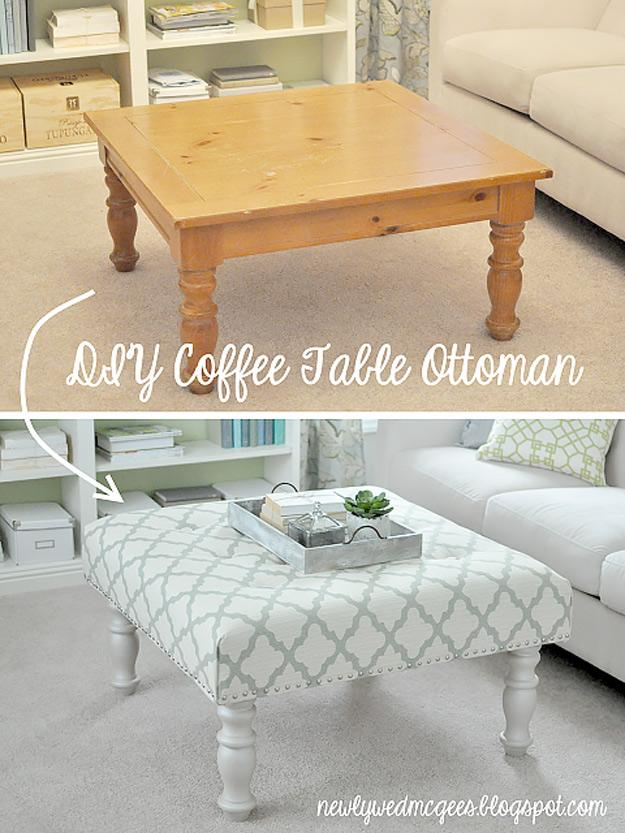 From Coffee Table To Ottoman   http://newlywedmcgees.blogspot.co.uk/2012/08/diy-upholstered-ottoman.html