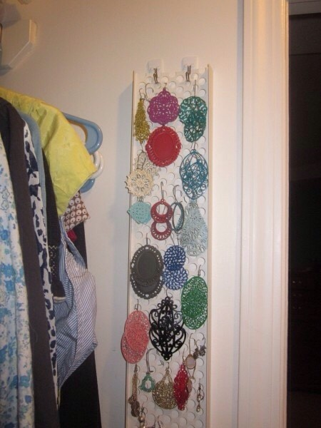 17. Every bit of space matters.Most useful if you have a large collection of earrings, but you can also hang other things from this rain gutter guard DIY: http://www.bluecricketdesign.net/2012/04/rain-gutter-guard-earring-holder.html