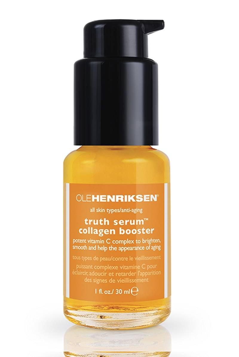 Fight dullness with vitamin C This super-antioxidant brightens the skin's surface, protects against UV damage, and actually boosts collagen production. Get your daily dose by applying Ole Henriksen Truth Serum Collagen Booster ($48) under your moisturizer morning and night.