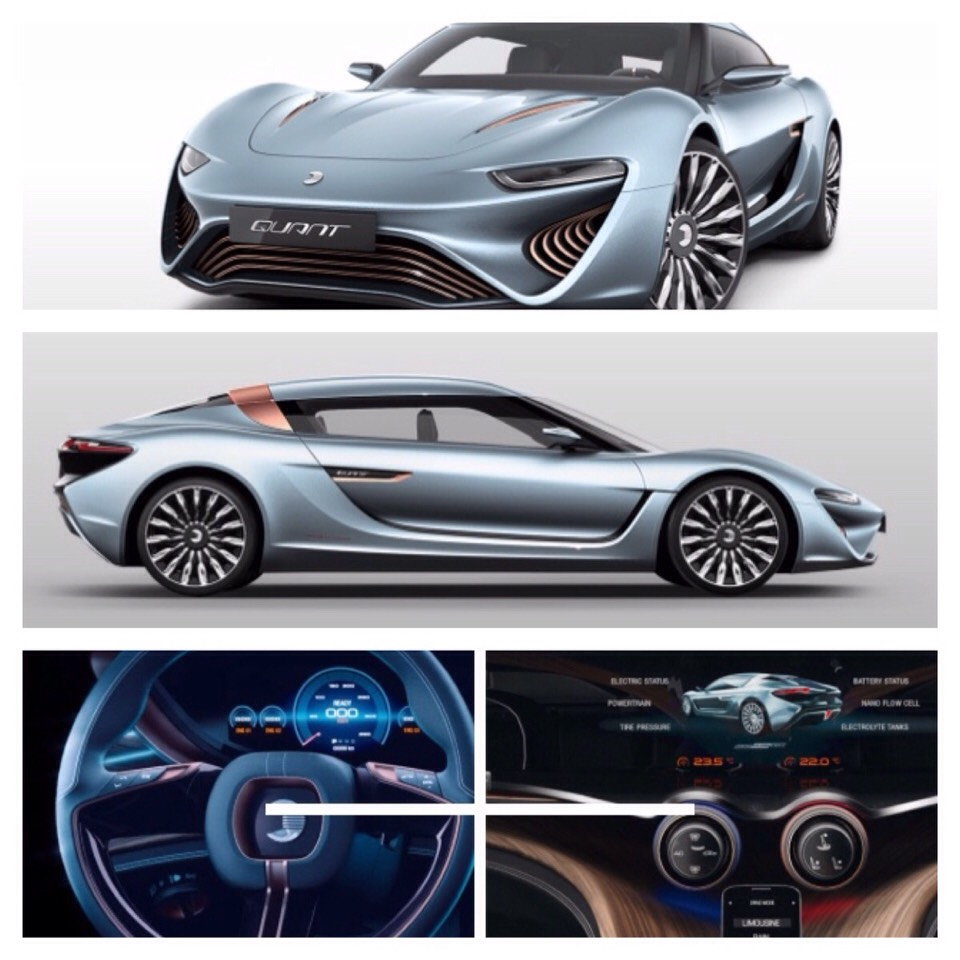This beautiful sports car is called the Quant. It is powered by sea water. :)
