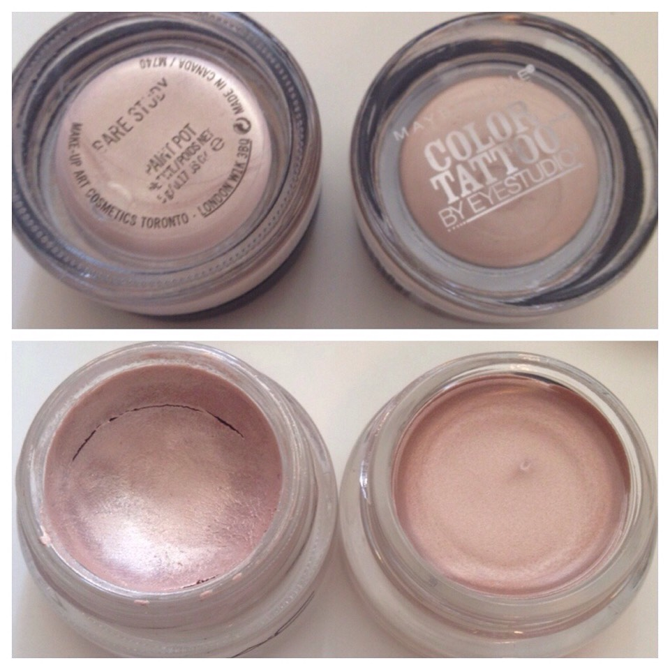 """MAC Paint Pot """"Bare Study"""" vs. Maybelline 24 Hour Color Tattoo """"Barely Branded"""""""