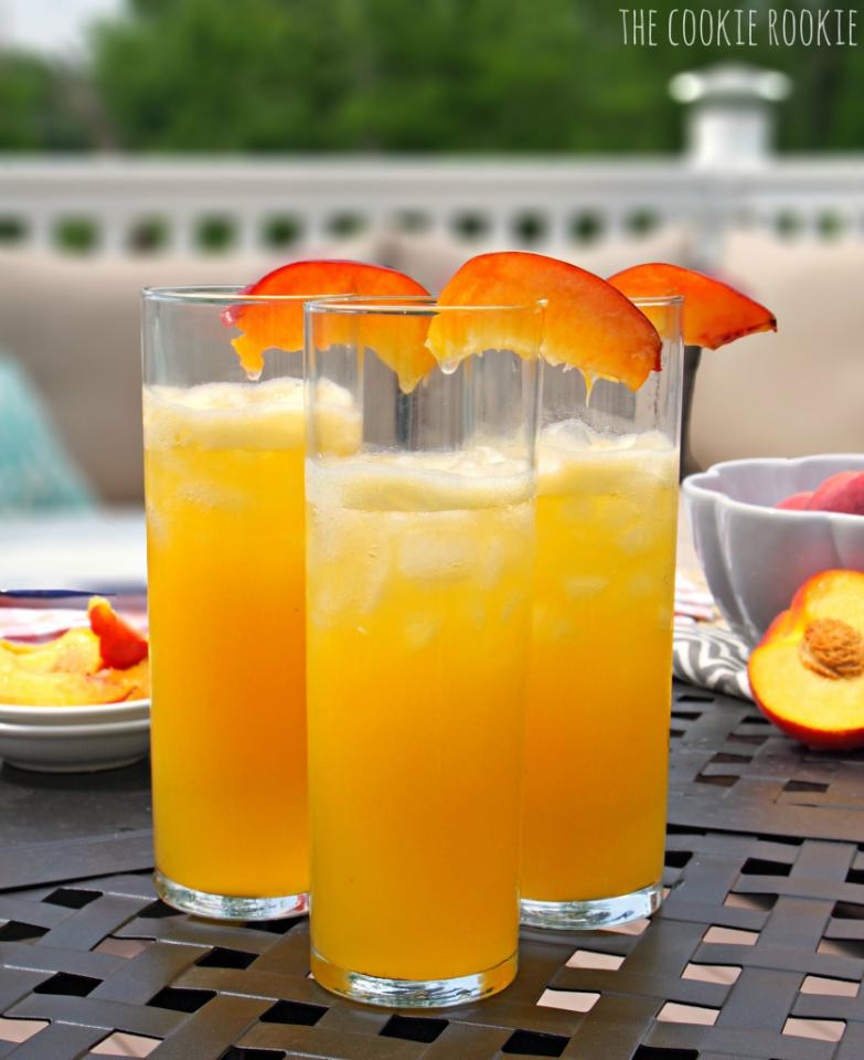 bring out the blender and then... put a 12ounce can of frozen lemonade concentrate and 36ounces of water just fill the lemonade container three times that is all you need. put 1 pound of fresh or frozen peaches and a 1/2 cup of vodka and blend in the blender and put into a lemonade pitcher and enjoy