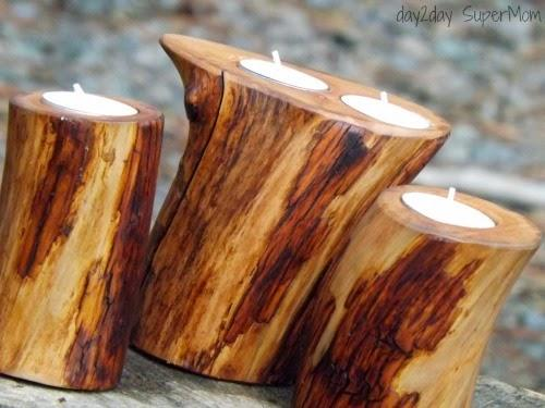 these beautiful wood candle holders! These would look beautiful clustered together on a coffee table or a shelf. And they would also make great gifts for friends and family!
