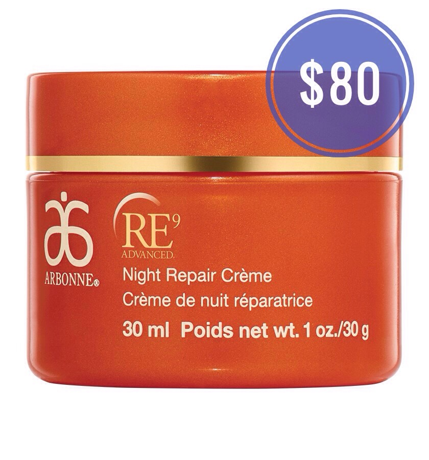 Arbonne Re9 Advanced Night Repair Crème |💰 $80 **on Amazon & eBay for much cheaper!**  This premier anti-aging night repair crème contains an ultra-hydrating blend of botanicals + collagen-supporting ingredients. Using this product daily really does help achieve visibly youthful-looking skin. .