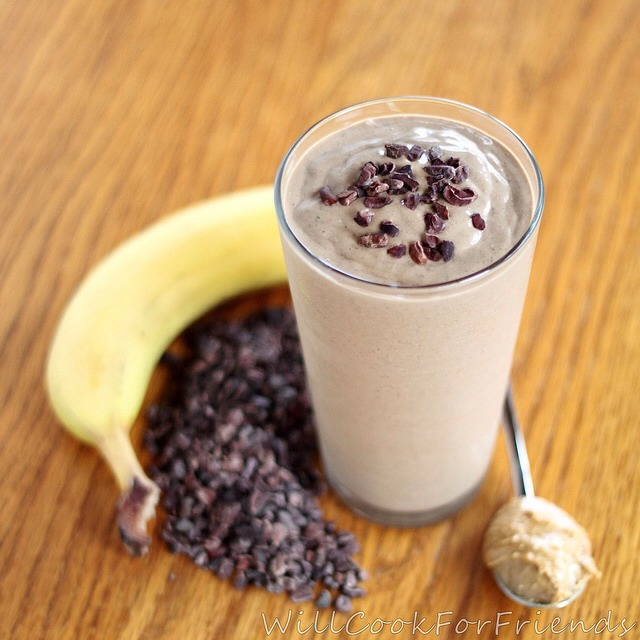 CHOCOLATE PEANUT BUTTER BANANA SMOOTHIE: one banana, 15 chocolate chips (melted), 2-3 tablespoons peanut butter, milk to your choice of consistency