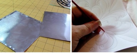 then draw out some patterns on paper.  Laying the metal tile on top of a folded towel, You can use a knitting needle to press the design into the metal.