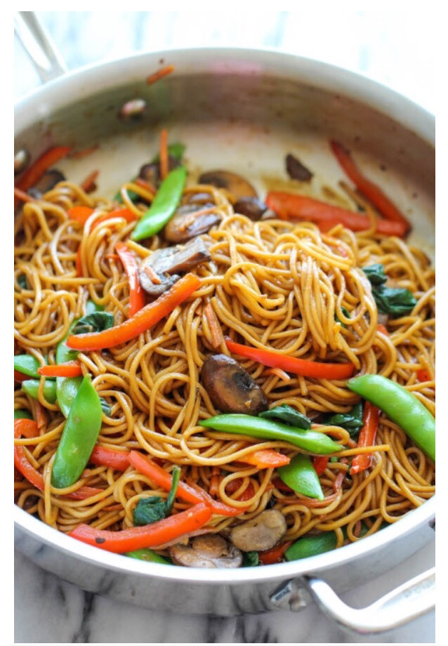 Instructions  In a small bowl, whisk together soy sauce, sugar, sesame oil, ginger and Sriracha; set aside. In a large pot of boiling water, cook lo mein egg noodles according to package instructions; drain well.