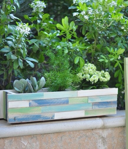 Wood Shim Window Box Planter  I love wood shims -- and this planter and its beach-themed colors is amazing. It's easy to build and you can customize the colors to match your decor ... and even bring the outside in when the weather cools.