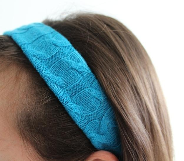 """Headband  Cut a strip from the remaining sweater. It should measure about 4"""" x 18""""."""