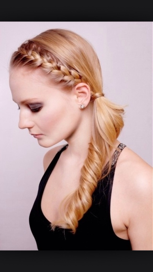Do a normal French braid from the other side of your hair and being it to your side and tie it.