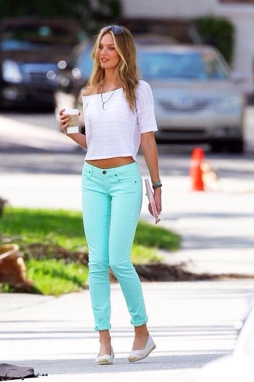 Bright pants is a must have for the sunny days
