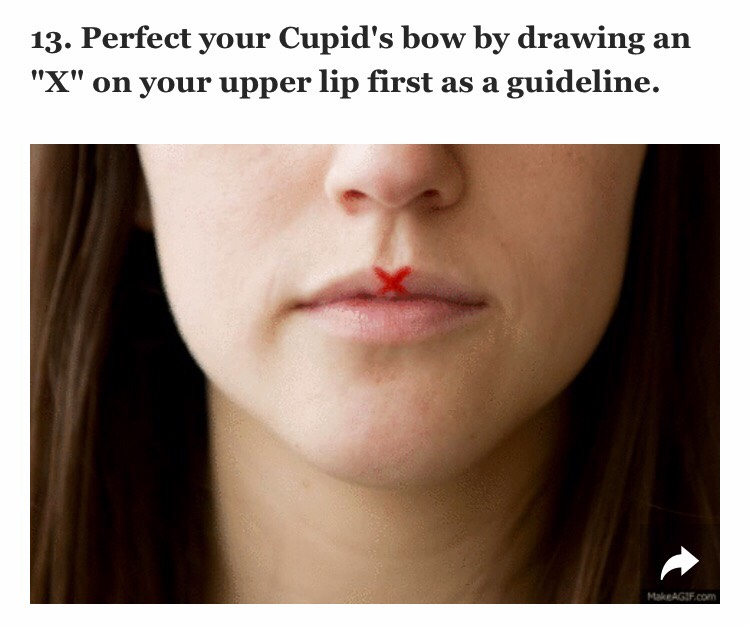 """To make the Cupid's bow part of your pout look perfect, the easiest and quickest way is to take a lip liner in the same shade as your lipstick and create an """"X"""" at your Cupid's bow. Then, apply your lipstick as you normally would and voil!"""