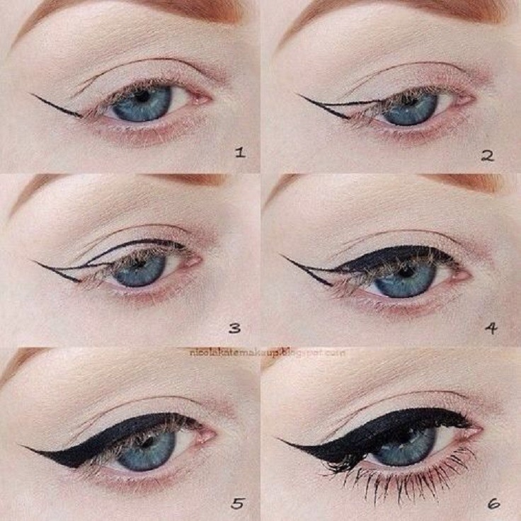 Now apply eyeliner winged or not, however you like, this makes your eyes stand out.