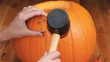 Simply place the cookie cutter onto your pumpkin and punch it in with your mallet