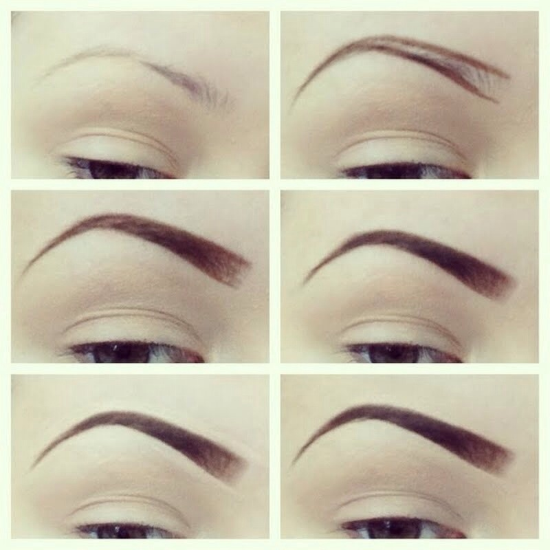 1. Start off with clean eyebrows plucked & trimmed.  2. Use eyebrow pencil.  3. Draw desired shape.  4. Next fill in softly using brow pencil, then fill in with shadow (lightly in front & darker towards end).   5. Conceal edges to give a clean look.