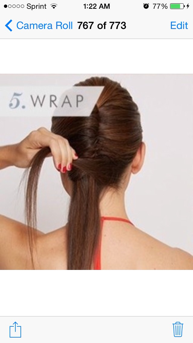 Separate a one-inch section of your ponytail and wrap it around your hair tie, securing with a bobby pin.
