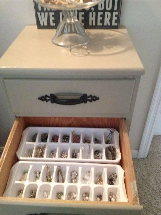 Ice trays to hold jewelry.