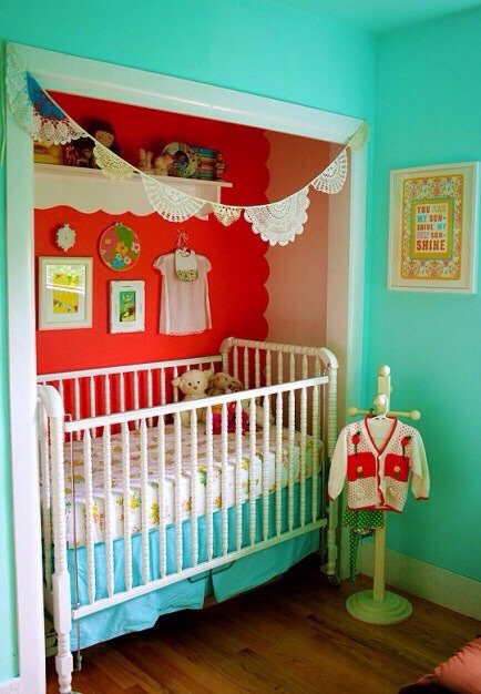 Crib in a Closet  With limited space, placing the crib in the closet (without doors of course) may be a perfect solution for you.