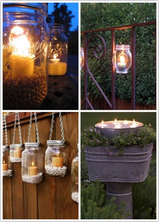 Set up scented candles wherever you can. They help create a nice warm glow and can keep your backyard smelling wonderful
