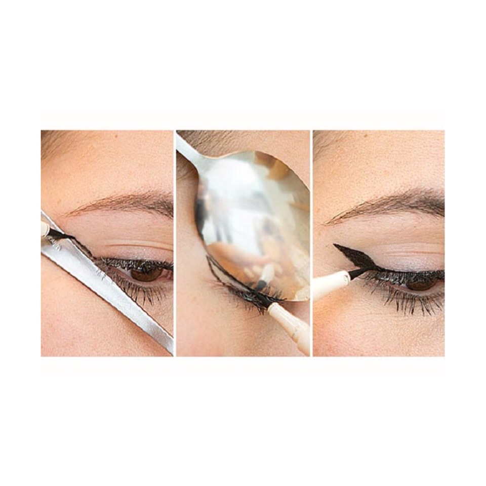 Use a spoon to create a perfect eye wing