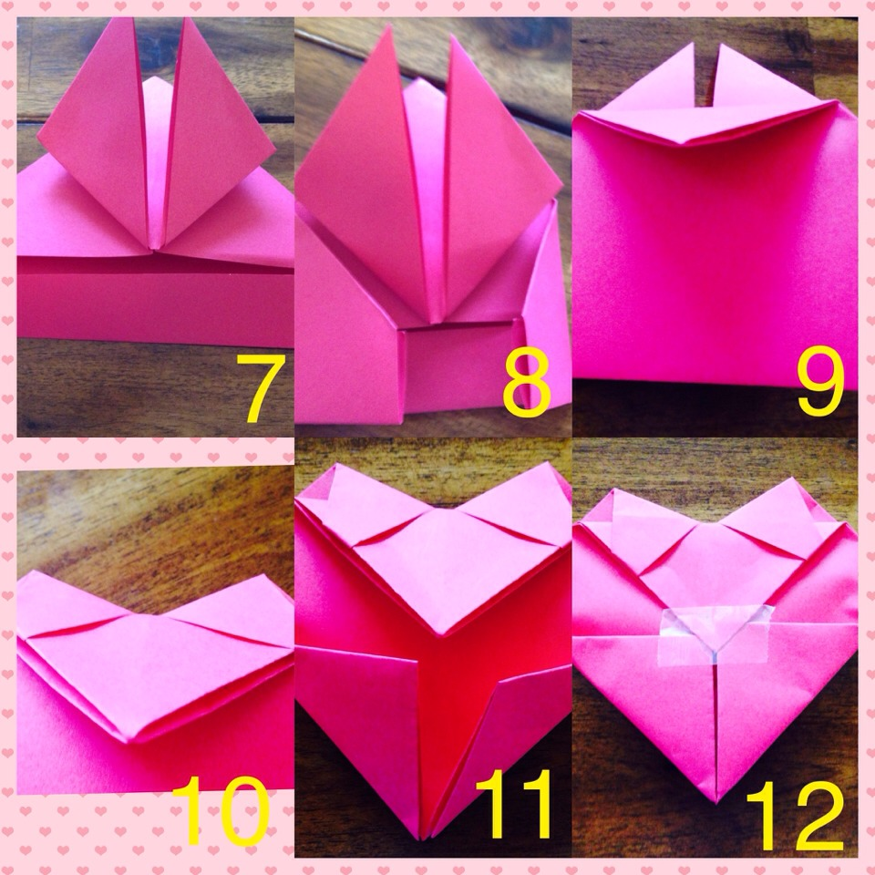 7. Fold the bottom part (up). 8. Fold the bottom sides (in). 9. Turn the paper around and fold the top part making a triangle. 10. Tuck in the top part into the back part.  11. Do the same for the bottom part. 12. Secure the back with a piece of tape!
