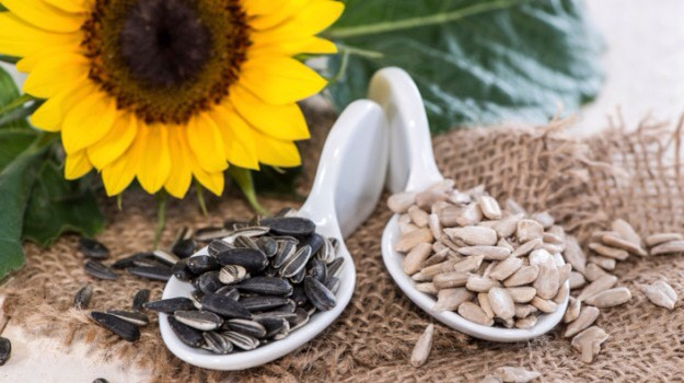 SUNFLOWER SEEDS |These little seeds provide an excellent source of vitamin E + help protect the skin from damage caused by free radicals in the environment + in the body (free radicals in excess can harm body cells, including skin cells).